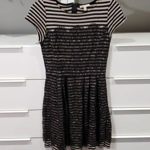 EUC Anthropologie fit and flare Stripe Lace dress